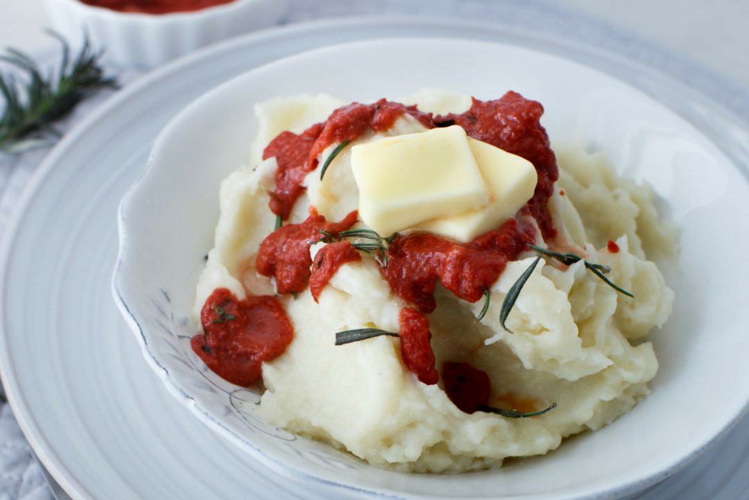 Mashed Cauliflower with Rosemary Tomato Sauce